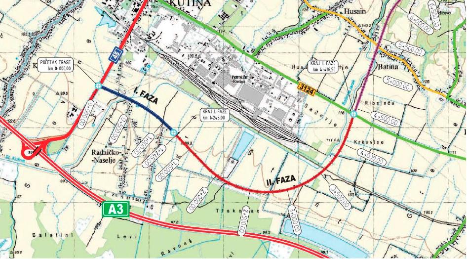 Kutina, Industrijsko logistička zona, južna obilaznica, D45